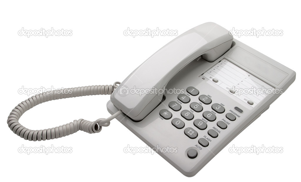 White office phone isolated — Stock Photo © Supertrooper #3203797