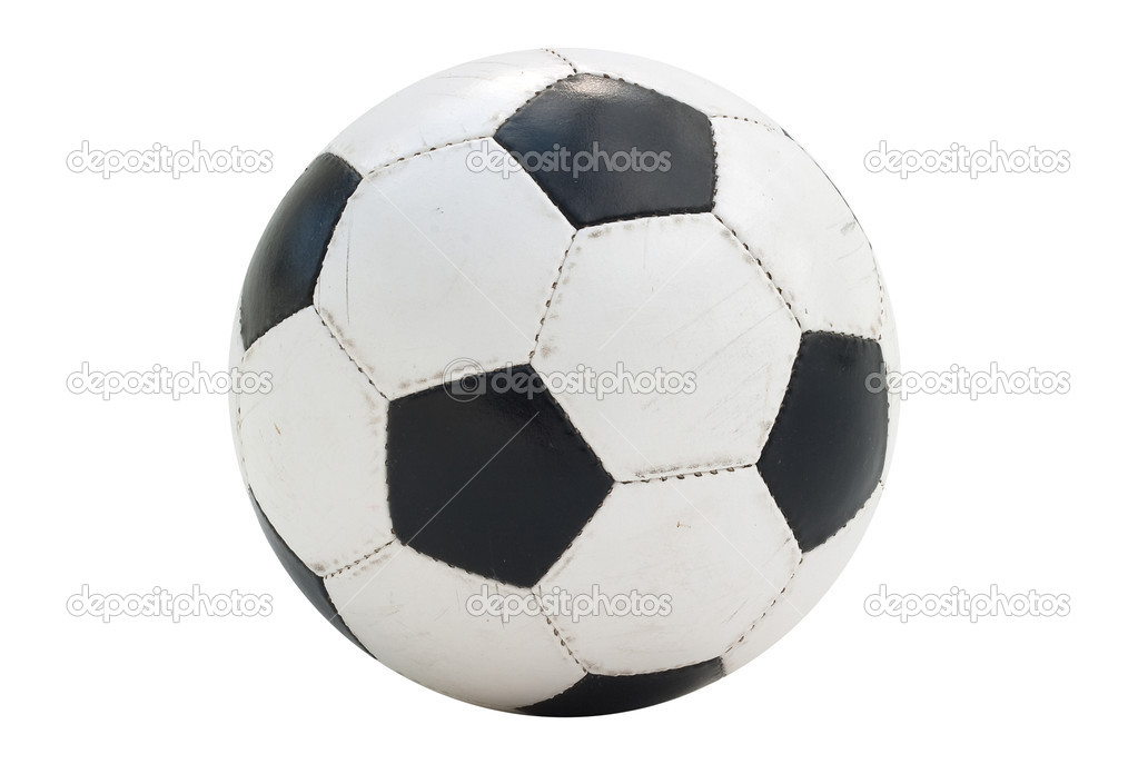 Soccer-ball isolated on white background. Low contrast, a wide range of tones. Visible on the worn leather texture coating — Stock Photo #3338816
