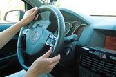Woman driving car — Stock Photo