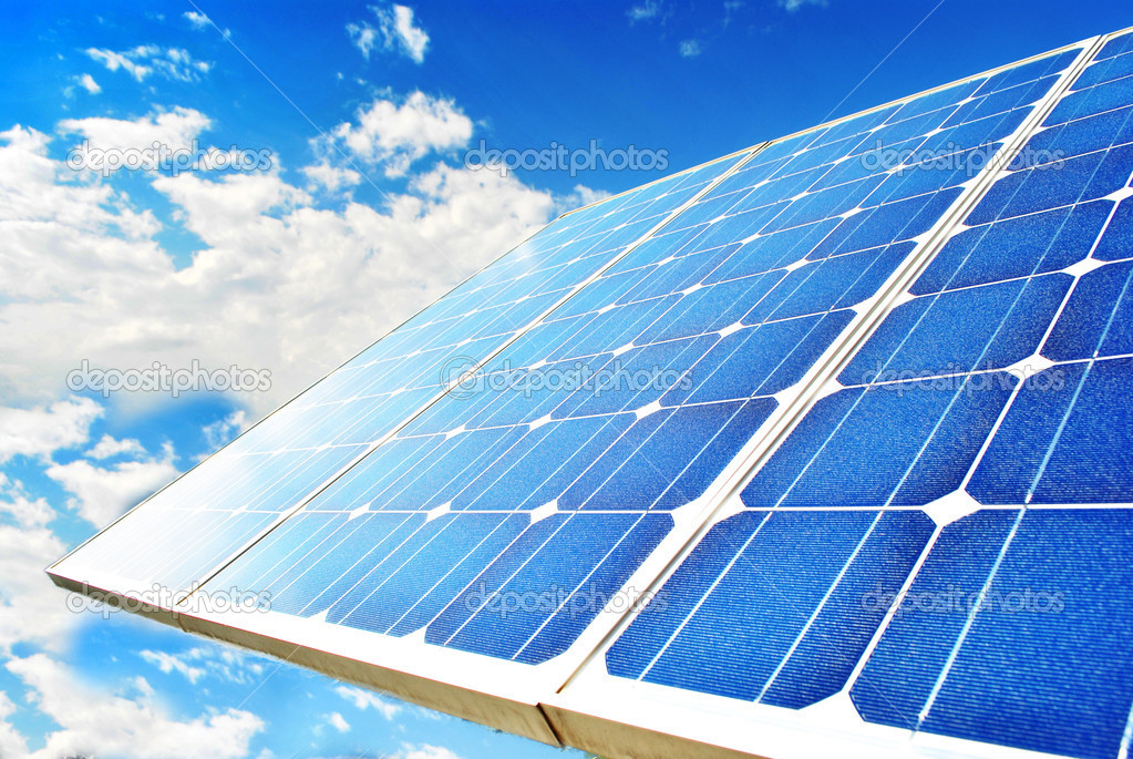 Solar Panel with background blue sky and white clouds — Stock Photo #3789151
