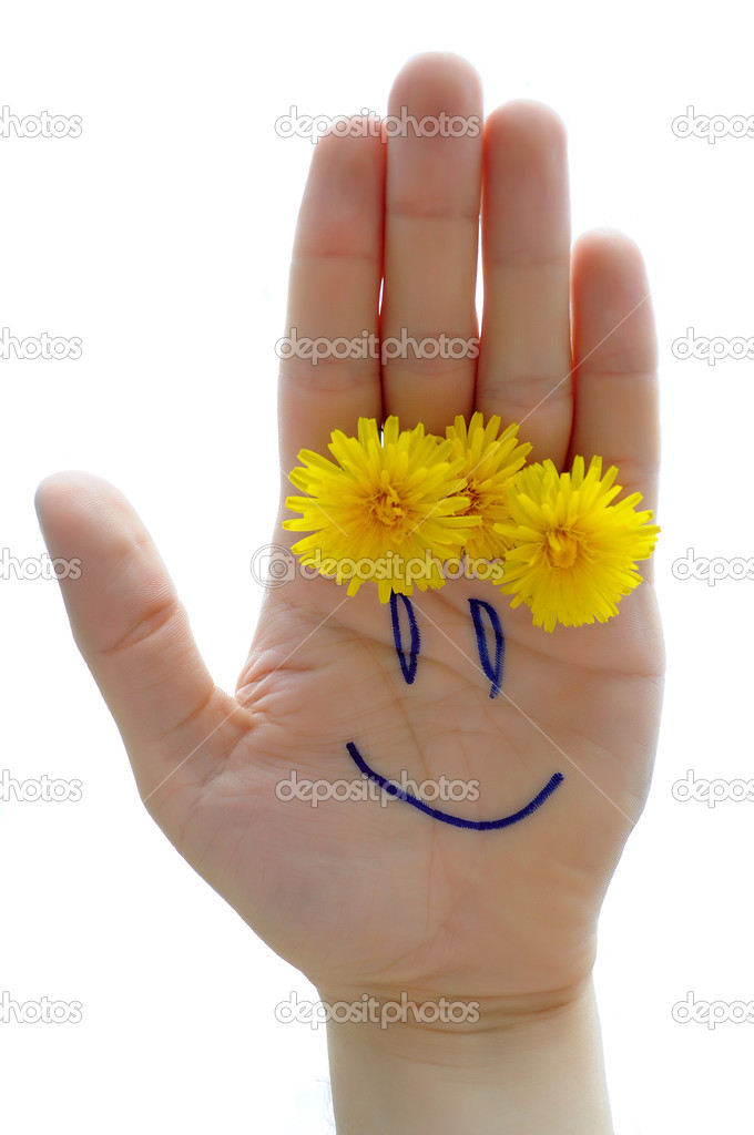 Cheerful hand with flowers. — Stock fotografie #3257322