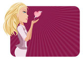 Kız ve kalp — Stok Vektör
