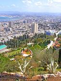 View on the Bahai gardens and Haifa, Israel — Stock Photo