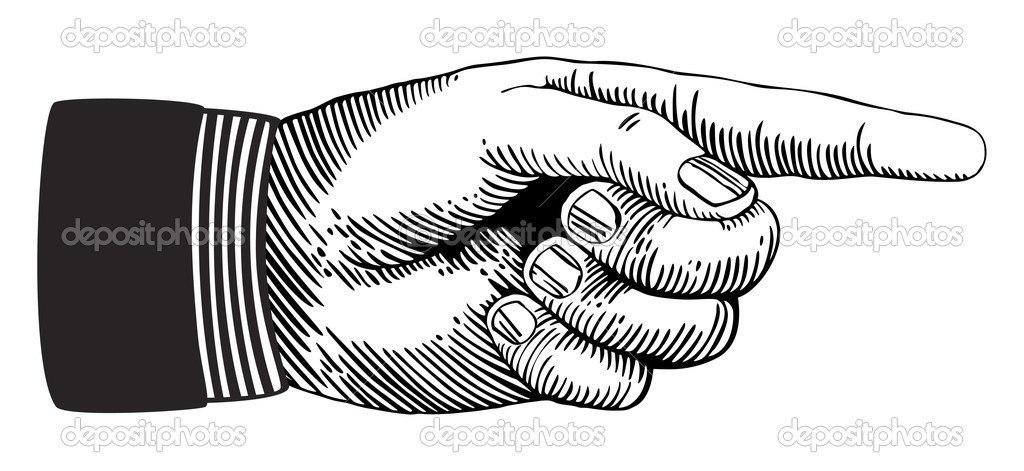 Hand with pointing finger in black and white woodcut style