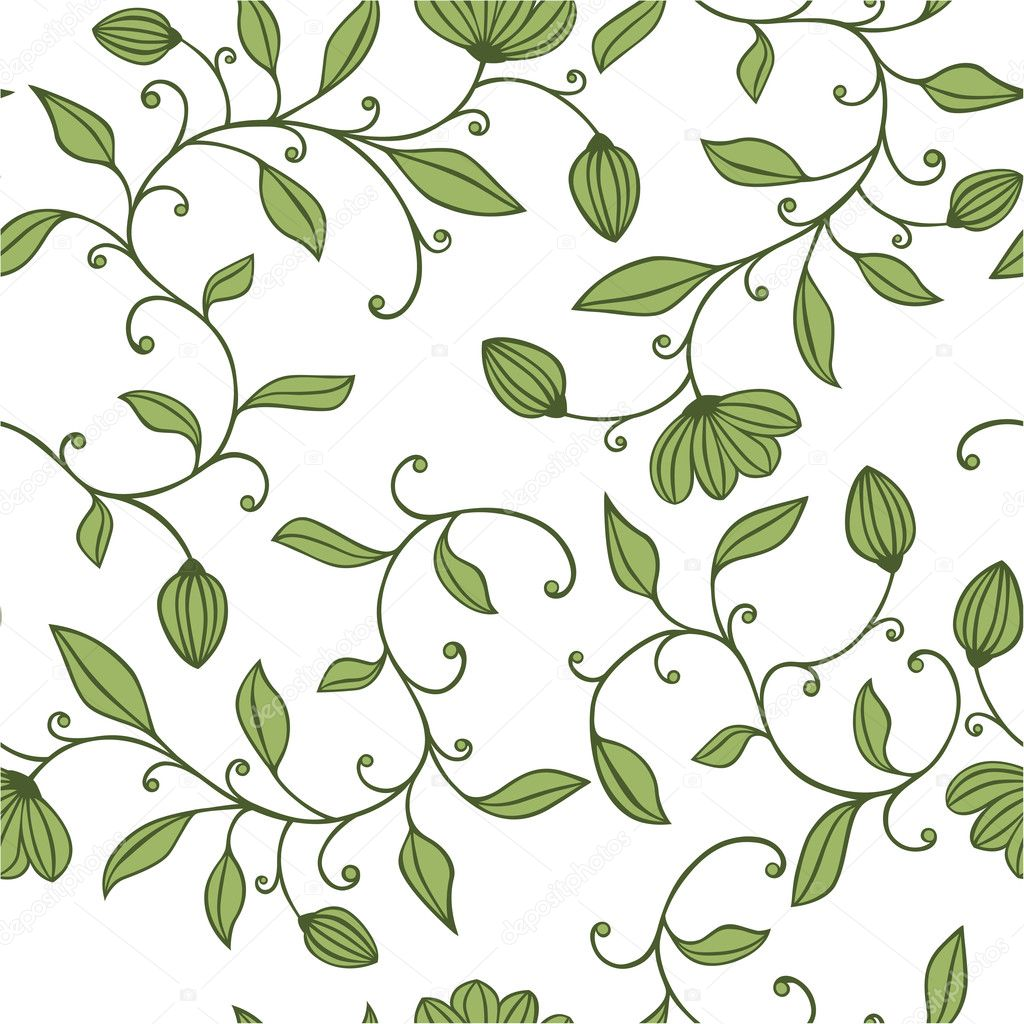 Seamless green floral pattern on white background  Stock Vector #3777243