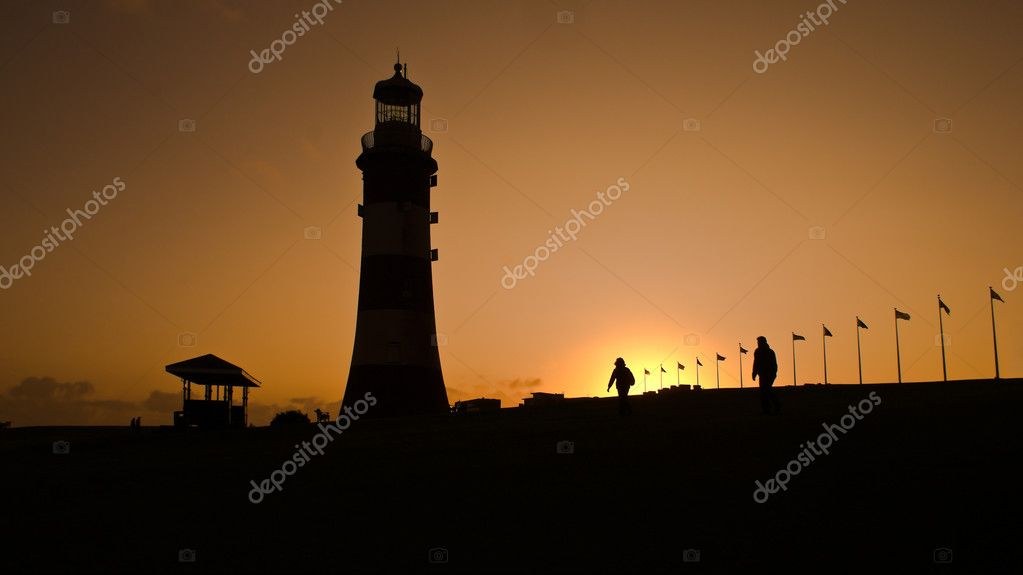Sunshine andPlymouth lighthouse — Stock Photo #3197851