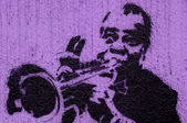 Trumpeter graffiti — Stock Photo