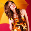 Pretty girl in dress with a umbrella — Stock Photo