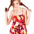 Pretty alluring young girl in dress — Stockfoto