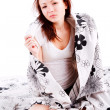 Morning young charming girl in bed — Stock Photo #3199426