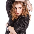 Alluring young girl in black jacket — Stok fotoğraf