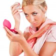 Young sweet pretty girl with powder box — Stock Photo #3199656