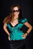 Yeşil bluz bayan — Stok fotoğraf