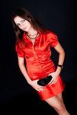 Rimanere donna in abito rosso — Foto Stock