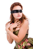 Girl blindfolded and cross hands — Stock Photo