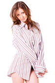 Pretty girl in man shirt — Stock Photo