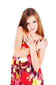 Young modest beautiful girl in dress — Stock Photo