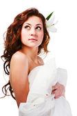 Belle charmante jeune fille en blanc — Photo