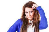 Genç ve güzel kız mavi bluz — Stok fotoğraf