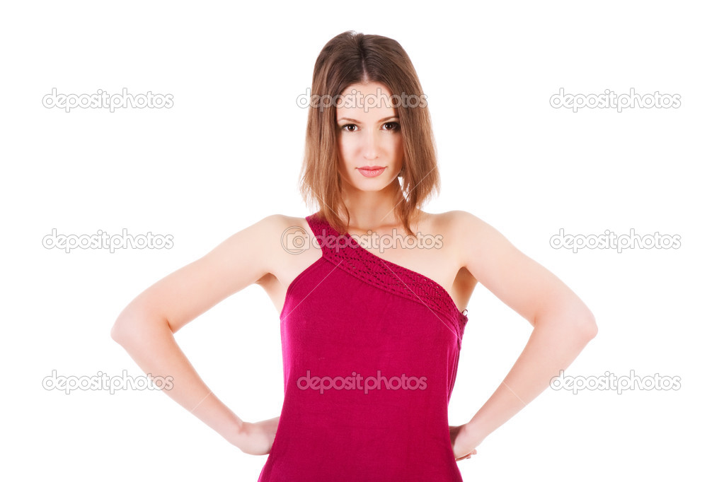 Picture of a sweet strict girl in dress  Stock Photo #3198658