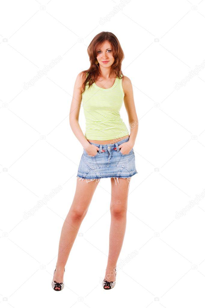 телки в джинсовых мини юбках-хв1