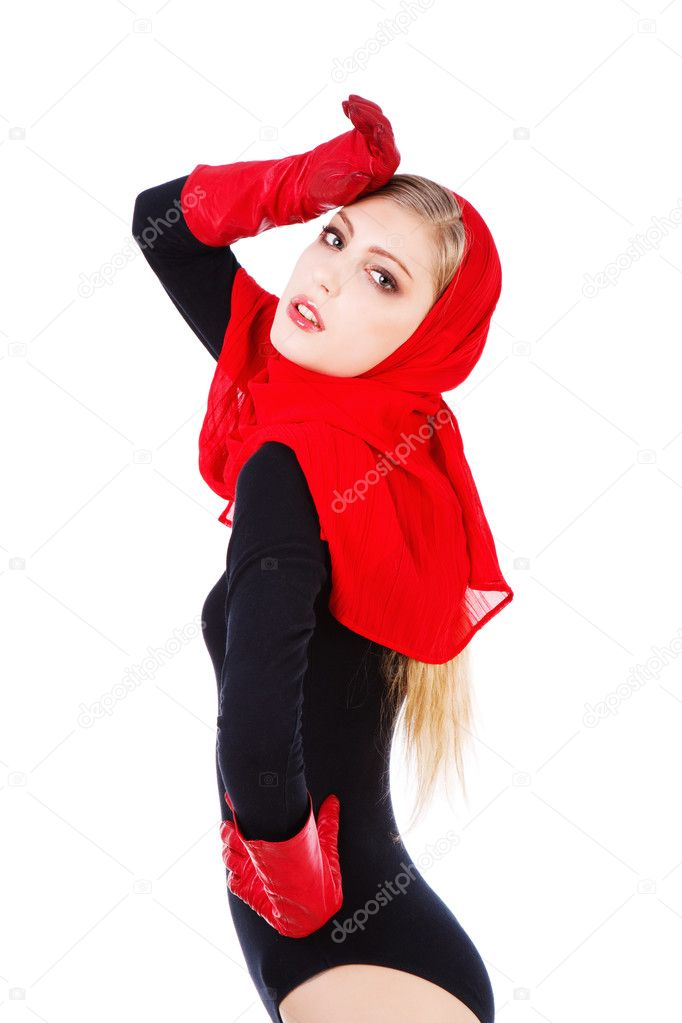 Picture of a beautiful adorable young girl red scarf and gloves — Stock Photo #3199577