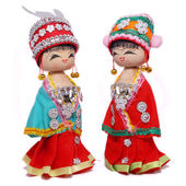 Two costume wooden dolls — Stock Photo