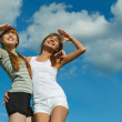 Stock Photo: Two girl at the open air