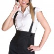Beautiful and sexy blond business woman with headset — Stock Photo