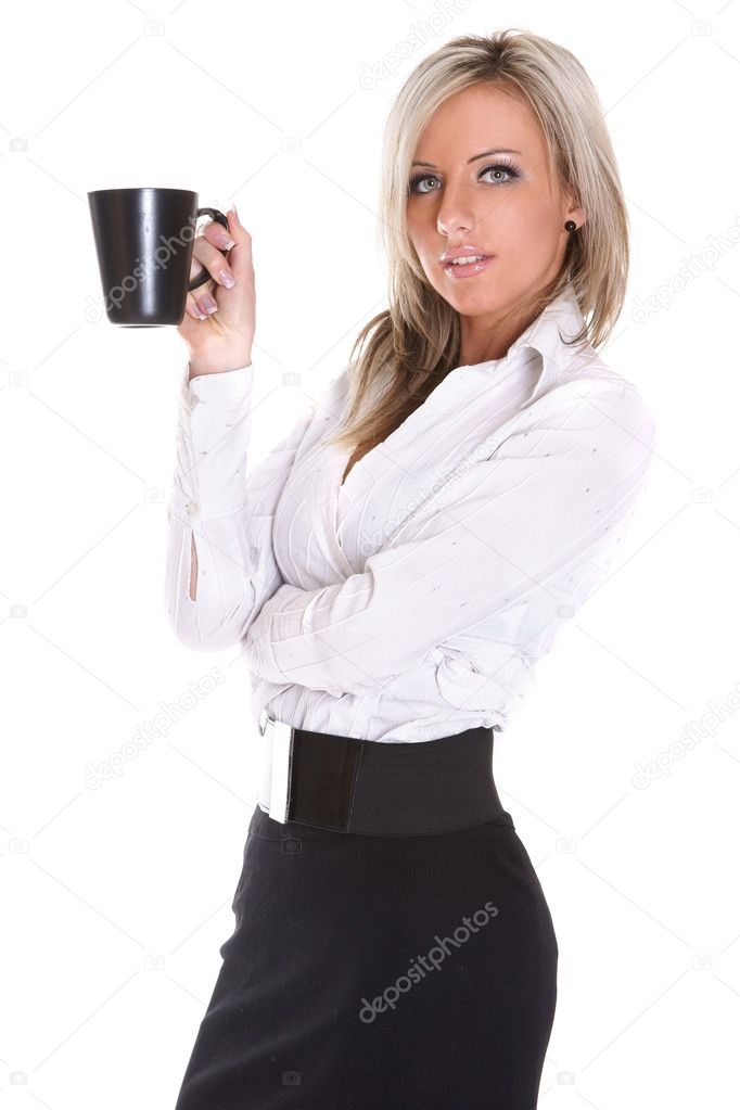 Young beautiful lady drinking coffee on white background  Stockfoto #3315784