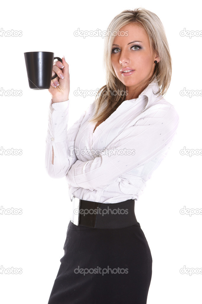 Young beautiful lady drinking coffee on white background — Photo #3315784