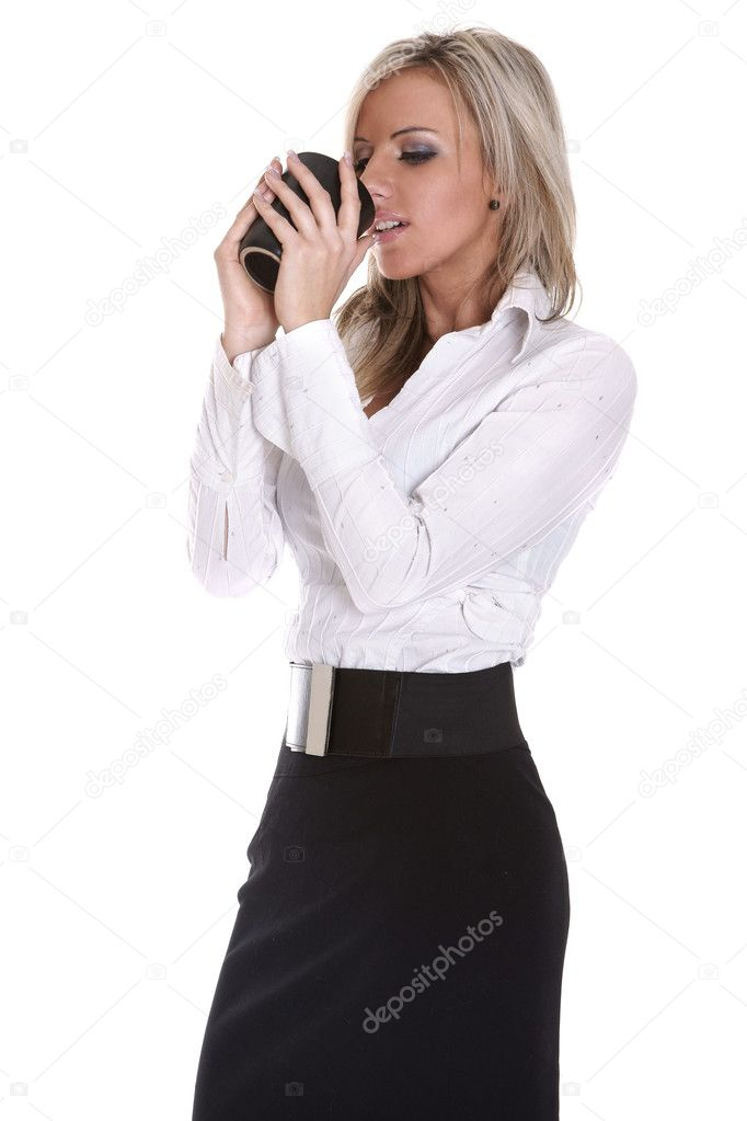 Young beautiful lady drinking coffee on white background — Foto de Stock   #3315787