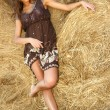 Young beautiful attractive woman in a haystack — Stock Photo