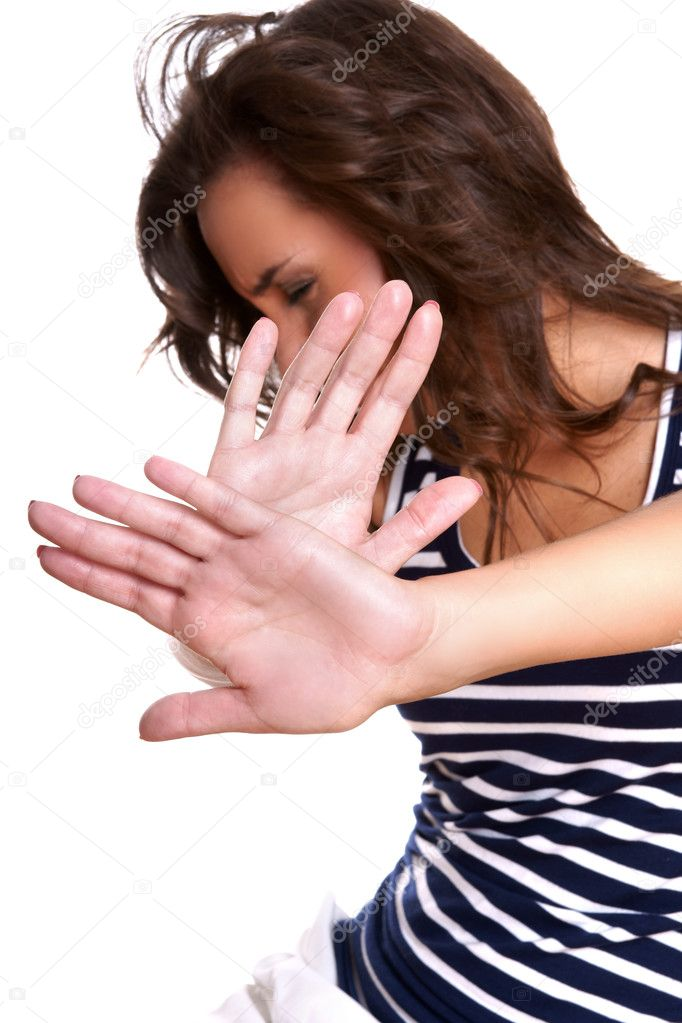  young woman making stop gesture   Stock Photo #3495152