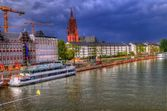 Riverside buildings in frankfurt, germany — Stock Photo