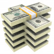 Foto Stock: Bundle of dollars on white background