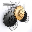 Two metallic gray and one golden gears against a background of engineering — Stock Photo