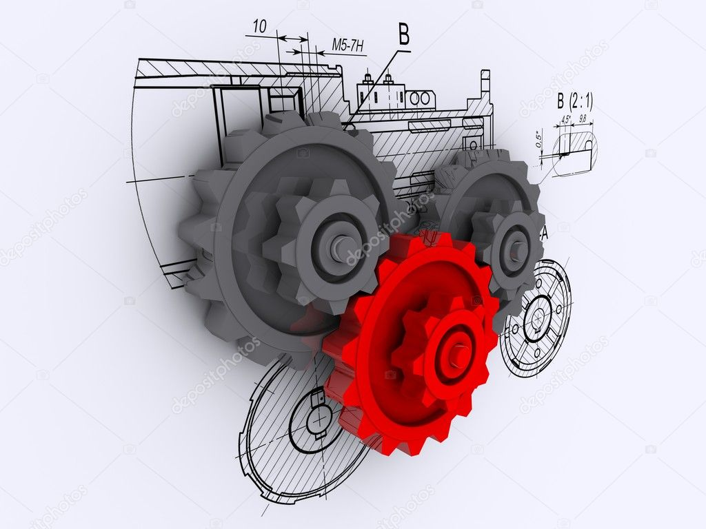 Two gray and one red gears against a background of engineering drawings with shadow — Stock Photo #3497610