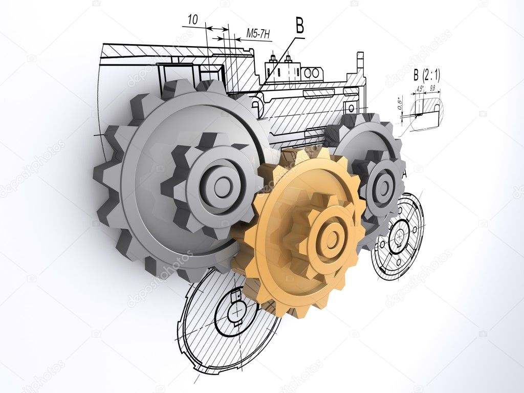 Two metallic gray and one golden gears against a background of engineering drawings with shadow  Stock Photo #3497887