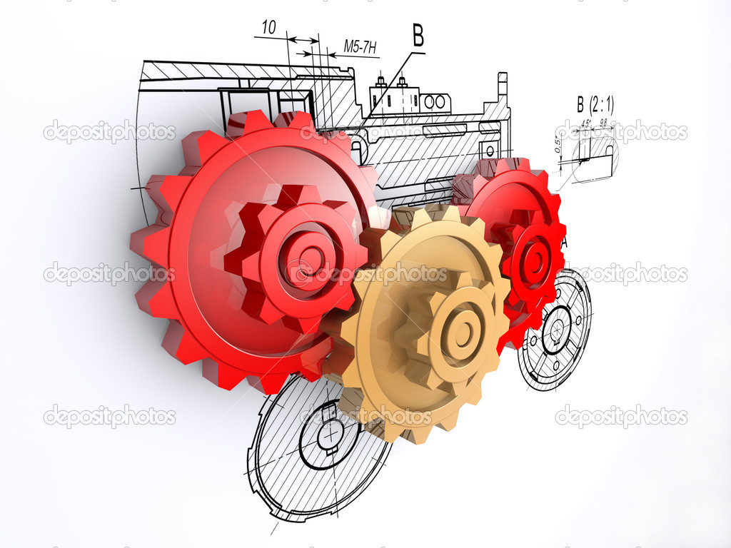 Two metallic red and one golden gears against a background of engineering  — Stock Photo #3500987