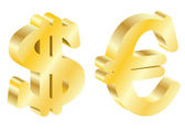 Gold dollar and the euro — 图库矢量图片