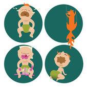 Infants, explore the world — Stock Vector