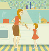 Mother and daughter preparing dinner in the kitchen — Stock Vector