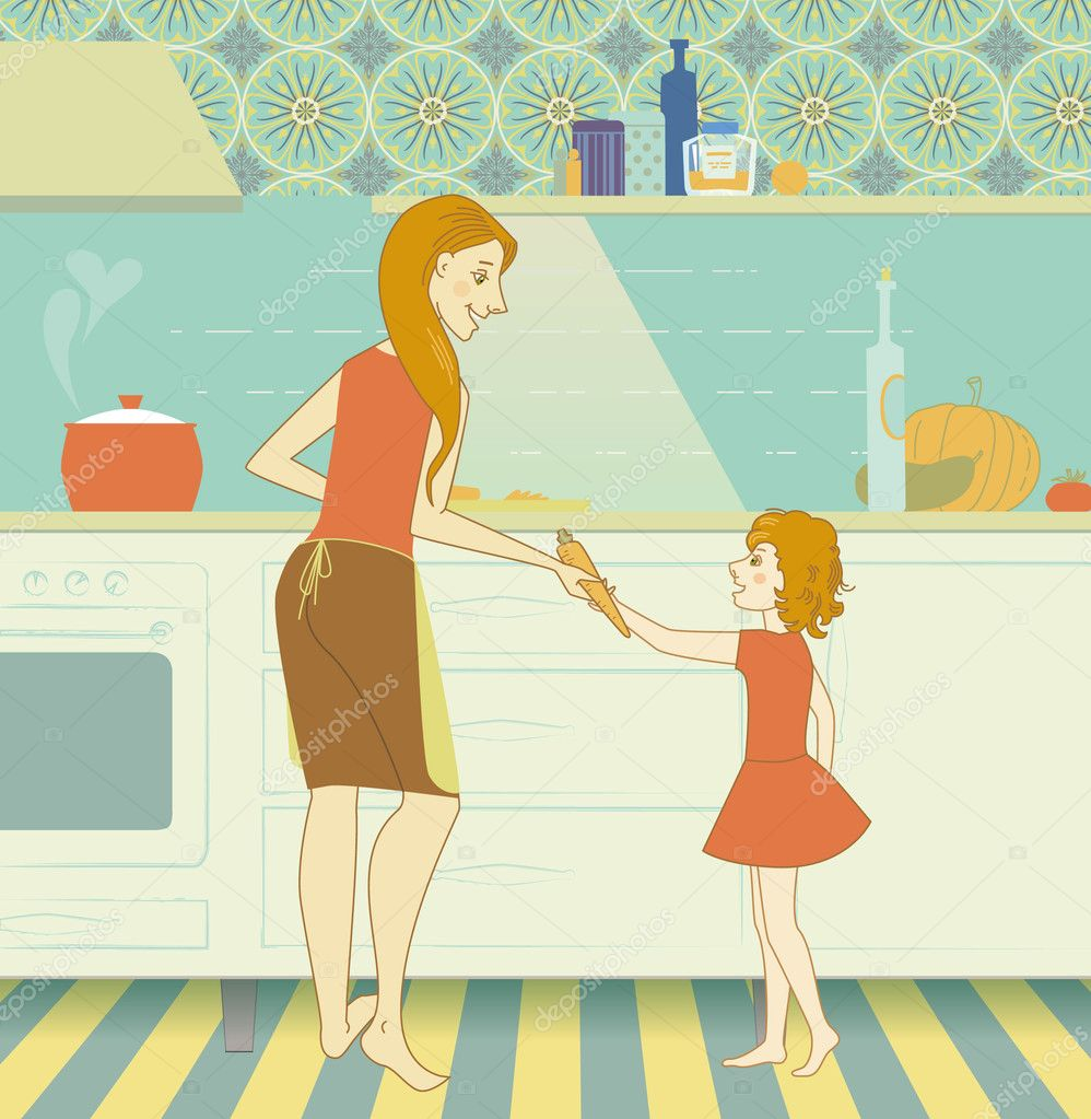 Charming mother cooks dinner and gives her daughter carrots  Stock Vector #3492838
