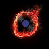 Burning vinyl record — Stock Photo