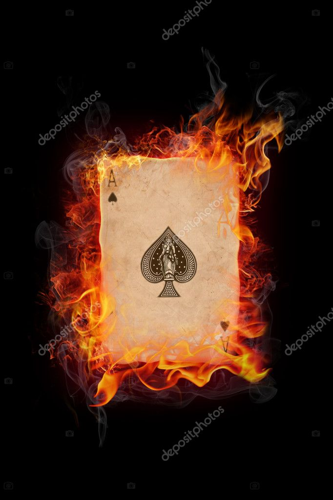 Old vintage cards in flame on black background — Foto Stock #3176867