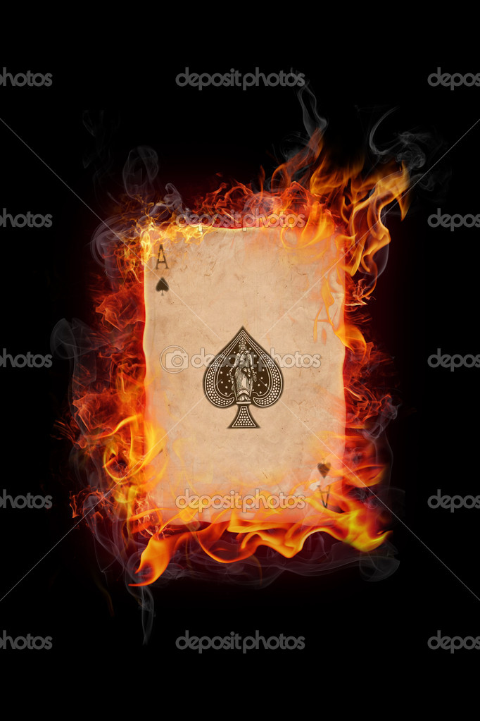 Old vintage cards in flame on black background — Stock Photo #3176867