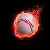 Baseball in flames — Stock Photo