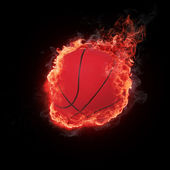 Flying basketball in flames — Stock Photo