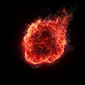 Fire ball isolated on black background — Stock Photo